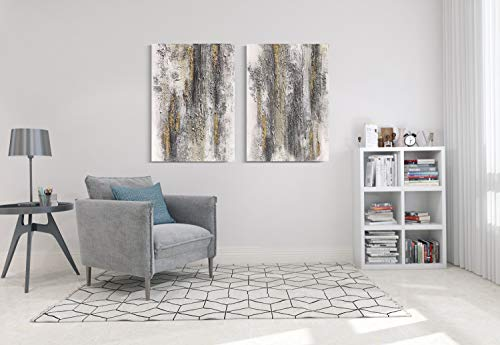 Yihui Arts Abstract Canvas Wall Art Pictures Thick Texture Grey With Gold Foil Paintings Hand Painted By Professional Artist For Dinning Room Decoration 0 5