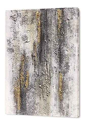 Yihui Arts Abstract Canvas Wall Art Pictures Thick Texture Grey With Gold Foil Paintings Hand Painted By Professional Artist For Dinning Room Decoration 0