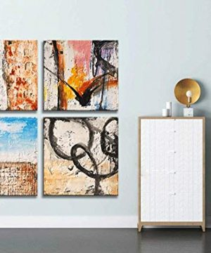 Yihui Arts Group Panel Blue Black Red Abstract Painting Canvas Wall Art Pictures For Bed Room 0 1 300x360