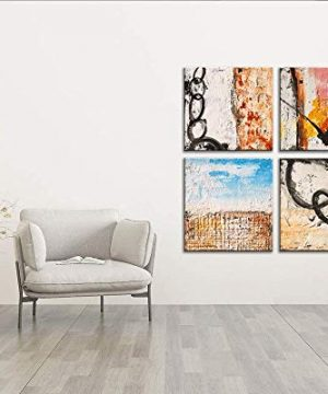 Yihui Arts Group Panel Blue Black Red Abstract Painting Canvas Wall Art Pictures For Bed Room 0 2 300x360