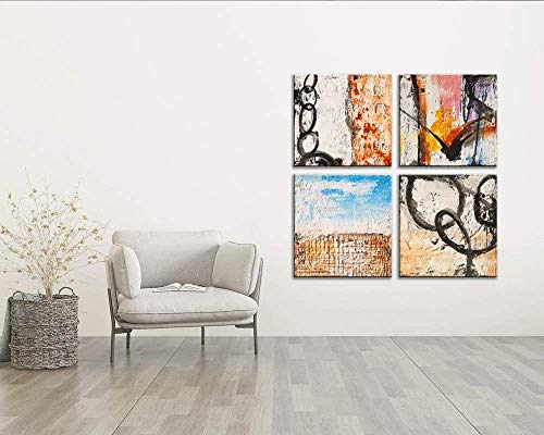 Yihui Arts Group Panel Blue Black Red Abstract Painting Canvas Wall Art Pictures For Bed Room 0 2