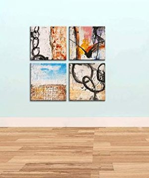 Yihui Arts Group Panel Blue Black Red Abstract Painting Canvas Wall Art Pictures For Bed Room 0 3 300x360