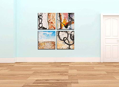 Yihui Arts Group Panel Blue Black Red Abstract Painting Canvas Wall Art Pictures For Bed Room 0 3