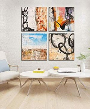 Yihui Arts Group Panel Blue Black Red Abstract Painting Canvas Wall Art Pictures For Bed Room 0 4 300x360