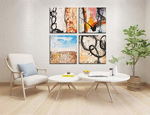 Yihui Arts Group Panel Blue Black Red Abstract Painting Canvas Wall Art Pictures For Bed Room 0 4