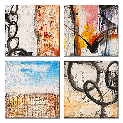 Yihui Arts Group Panel Blue Black Red Abstract Painting Canvas Wall Art Pictures For Bed Room 0