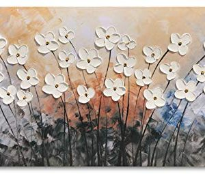 Yihui Arts Hand Painted Texture Large Oil Painting On Canvas Flower Wall Art For Living Room Decor Contemporary Artwork Framed Ready To Hang 20Wx40L 0 0 300x255