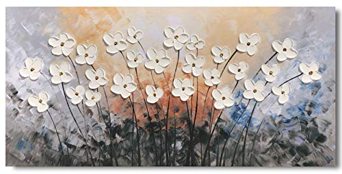 Yihui Arts Hand Painted Texture Large Oil Painting On Canvas Flower Wall Art For Living Room Decor Contemporary Artwork Framed Ready To Hang 20Wx40L 0 0