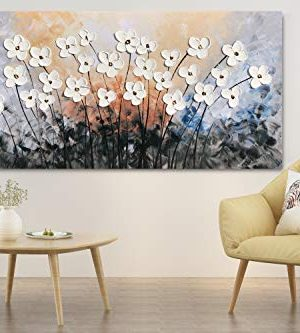 Yihui Arts Hand Painted Texture Large Oil Painting On Canvas Flower Wall Art For Living Room Decor Contemporary Artwork Framed Ready To Hang 20Wx40L 0 2 300x333