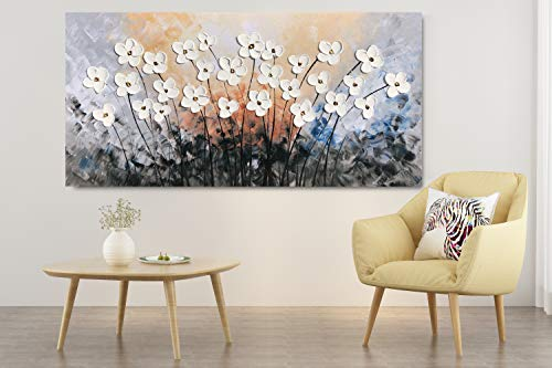 Yihui Arts Hand Painted Texture Large Oil Painting On Canvas Flower Wall Art For Living Room Decor Contemporary Artwork Framed Ready To Hang 20Wx40L 0 2