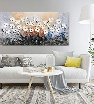 Yihui Arts Hand Painted Texture Large Oil Painting On Canvas Flower Wall Art For Living Room Decor Contemporary Artwork Framed Ready To Hang 20Wx40L 0 3 300x333