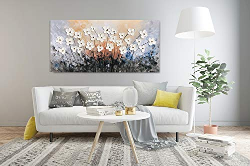 Yihui Arts Hand Painted Texture Large Oil Painting On Canvas Flower Wall Art For Living Room Decor Contemporary Artwork Framed Ready To Hang 20Wx40L 0 3