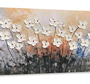 Yihui Arts Hand Painted Texture Large Oil Painting On Canvas Flower Wall Art For Living Room Decor Contemporary Artwork Framed Ready To Hang 20Wx40L 0 300x280