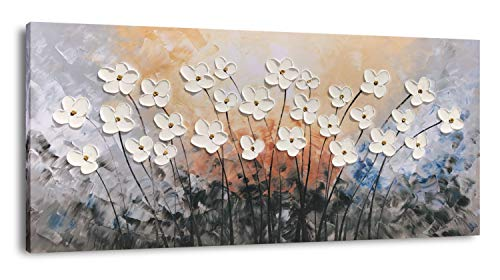 Yihui Arts Hand Painted Texture Large Oil Painting On Canvas Flower Wall Art For Living Room Decor Contemporary Artwork Framed Ready To Hang 20Wx40L 0