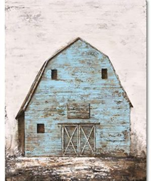 Yihui Arts Modern Abstract Farmhouse Wall Art Hand Painted Teal Color Painting Pictures For Living Room Decoration 0 0 300x360
