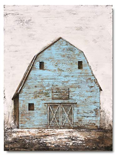Yihui Arts Modern Abstract Farmhouse Wall Art Hand Painted Teal Color Painting Pictures For Living Room Decoration 0 0