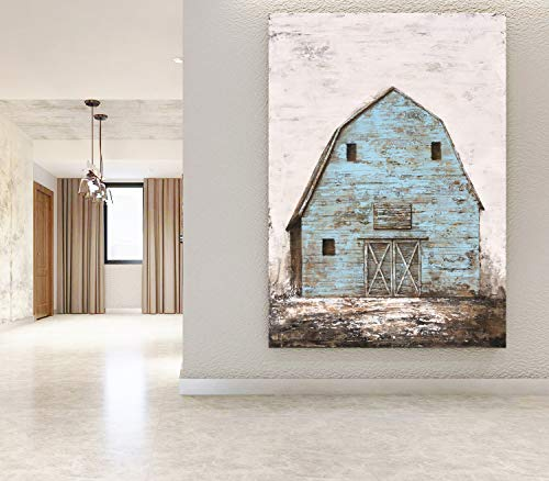 Yihui Arts Modern Abstract Farmhouse Wall Art Hand Painted Teal Color Painting Pictures For Living Room Decoration 0 4