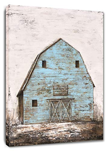 Yihui Arts Modern Abstract Farmhouse Wall Art Hand Painted Teal Color Painting Pictures For Living Room Decoration 0