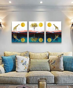 Abstract Wall Art For Bedroom Home Farmhouse Wall Decorations For Living Room The Golden Sun And Animals Bathroom Canvas Wall Art Decor 12 X 16 3 Pieces Framed Canvas Painting Art Hanging Pictures 0 1 300x360