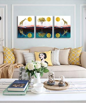 Abstract Wall Art For Bedroom Home Farmhouse Wall Decorations For Living Room The Golden Sun And Animals Bathroom Canvas Wall Art Decor 12 X 16 3 Pieces Framed Canvas Painting Art Hanging Pictures 0 2 300x360