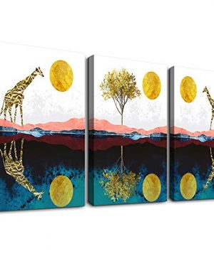 Abstract Wall Art For Bedroom Home Farmhouse Wall Decorations For Living Room The Golden Sun And Animals Bathroom Canvas Wall Art Decor 12 X 16 3 Pieces Framed Canvas Painting Art Hanging Pictures 0 300x360