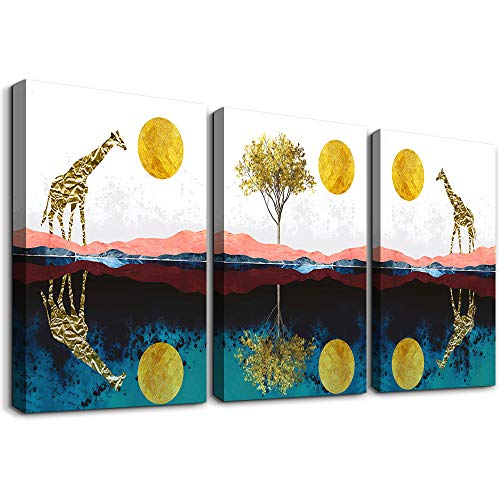 Abstract Wall Art For Bedroom Home Farmhouse Wall Decorations For Living Room The Golden Sun And Animals Bathroom Canvas Wall Art Decor 12 X 16 3 Pieces Framed Canvas Painting Art Hanging Pictures 0