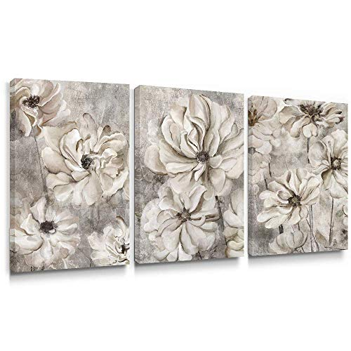 Takfot Rustic Wall Art Flower Canvas Paintings Farmhouse Prints Pink Floral Artwork Gardenia Picture Vintage Home Decor Ready To Hang For Living Room Bedroom Bathroom 1624 Inch 3 Panels 0