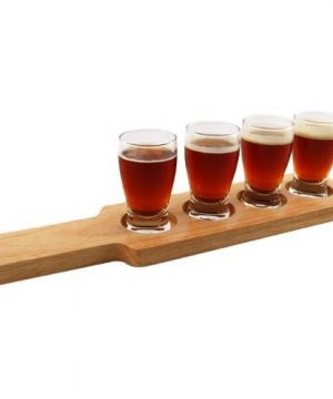 1 X Beer Tasting Serving Set Wood Paddle 4 Glasses 0 2 300x360