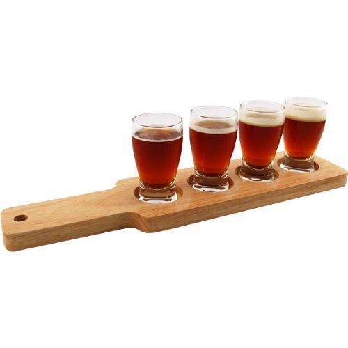 1 X Beer Tasting Serving Set Wood Paddle 4 Glasses 0 2