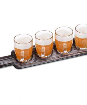 Beer Flight Paddle Tasting Serving Tray Craft Wooden Sampler Board With Bottle Opener Fits Most Of Mug Base For Beer Lovers Home Brewers Bars Rustic Torched Wood Paddle Only 0 0 300x360