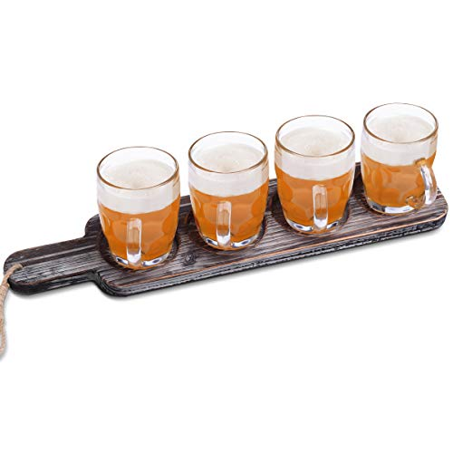 Beer Flight Paddle Tasting Serving Tray Craft Wooden Sampler Board With Bottle Opener Fits Most Of Mug Base For Beer Lovers Home Brewers Bars Rustic Torched Wood Paddle Only 0 0
