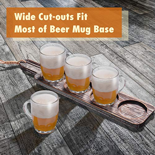 Beer Flight Paddle Tasting Serving Tray Craft Wooden Sampler Board With Bottle Opener Fits Most Of Mug Base For Beer Lovers Home Brewers Bars Rustic Torched Wood Paddle Only 0 2