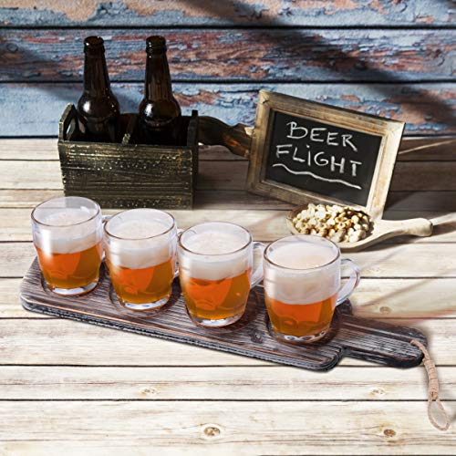 Beer Flight Paddle Tasting Serving Tray Craft Wooden Sampler Board With Bottle Opener Fits Most Of Mug Base For Beer Lovers Home Brewers Bars Rustic Torched Wood Paddle Only 0