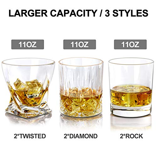 COPLIB Whiskey Glasses 11 OZ Rocks Glasses With Luxury BoxSet Of 63 Styles Crystal Old Fashioned Whiskey Glasses Perfect For Whiskey Lovers Durable Glasses For Scotch Bourbon Cocktail 0 1