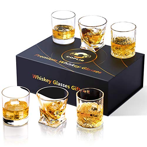 COPLIB Whiskey Glasses 11 OZ Rocks Glasses With Luxury BoxSet Of 63 Styles Crystal Old Fashioned Whiskey Glasses Perfect For Whiskey Lovers Durable Glasses For Scotch Bourbon Cocktail 0