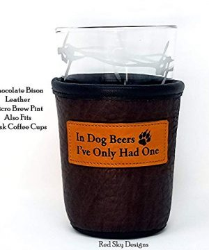 CUSTOM Bison Leather Pint Glass Holder Personalized Pint Cooler 0 0 300x360