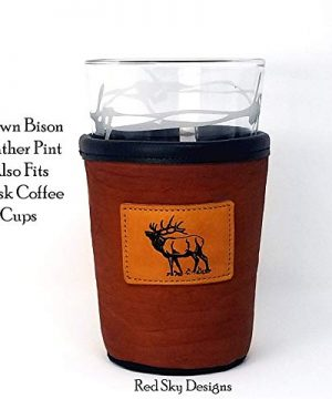 CUSTOM Bison Leather Pint Glass Holder Personalized Pint Cooler 0 1 300x360