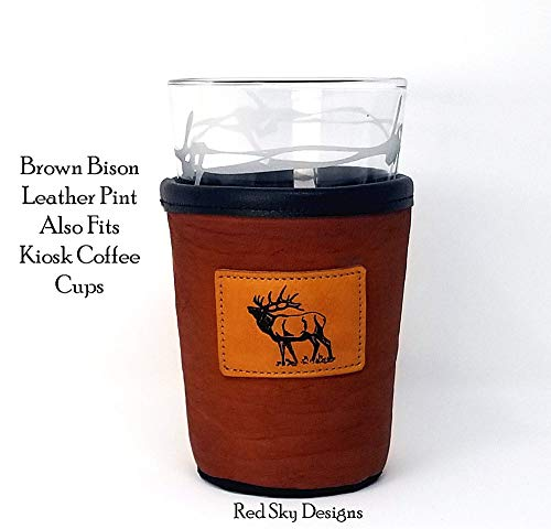 CUSTOM Bison Leather Pint Glass Holder Personalized Pint Cooler 0 1
