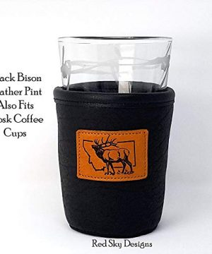 CUSTOM Bison Leather Pint Glass Holder Personalized Pint Cooler 0 2 300x360