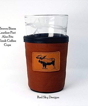 CUSTOM Bison Leather Pint Glass Holder Personalized Pint Cooler 0 3 300x360