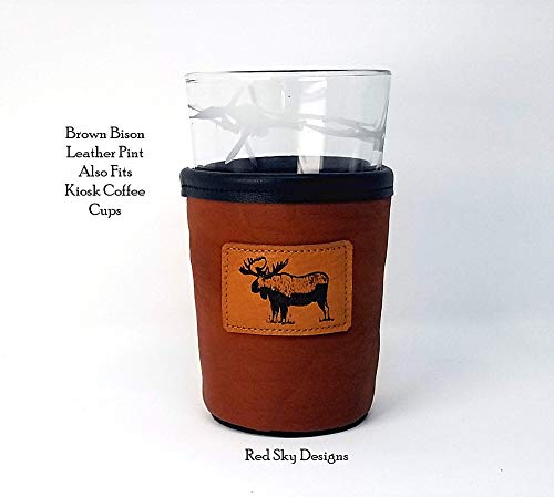 CUSTOM Bison Leather Pint Glass Holder Personalized Pint Cooler 0 3