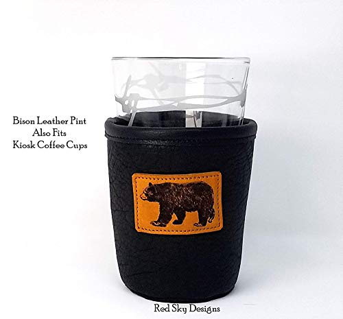 CUSTOM Bison Leather Pint Glass Holder Personalized Pint Cooler 0 4