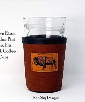 CUSTOM Bison Leather Pint Glass Holder Personalized Pint Cooler 0 5 300x360