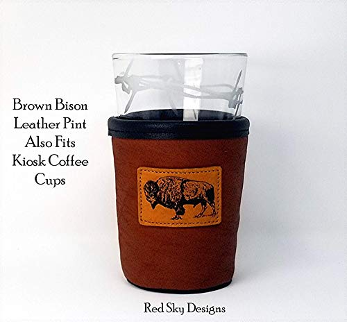 CUSTOM Bison Leather Pint Glass Holder Personalized Pint Cooler 0 5