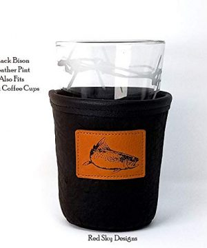 CUSTOM Bison Leather Pint Glass Holder Personalized Pint Cooler 0 6 300x360