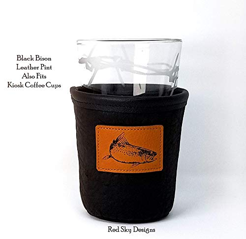 CUSTOM Bison Leather Pint Glass Holder Personalized Pint Cooler 0 6