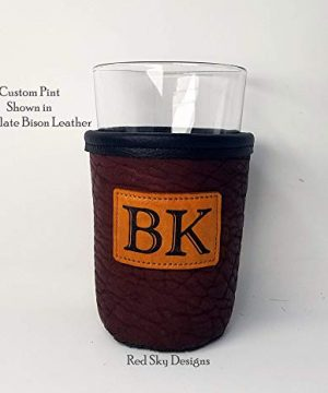 CUSTOM Bison Leather Pint Glass Holder Personalized Pint Cooler 0 7 300x360
