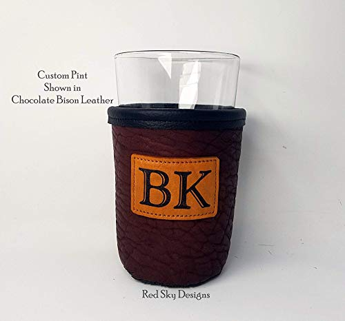 CUSTOM Bison Leather Pint Glass Holder Personalized Pint Cooler 0 7