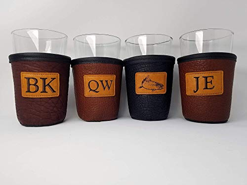 CUSTOM Bison Leather Pint Glass Holder Personalized Pint Cooler 0