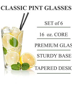 Classic Premium Beer Pint Glasses 16 Ounce Set Of 6 Highball Cocktail Mixing Glass Perfect For Cold Beverages Soda Water Used In Bar Restaurant Pub 0 0 300x360